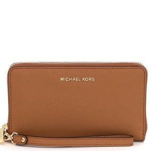 Michael Kors Jet Set Brown Leather Wallet/Wristlet